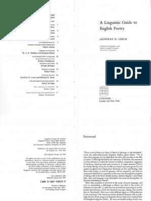 Leech Poetry | Metre (Poetry) | Linguistics