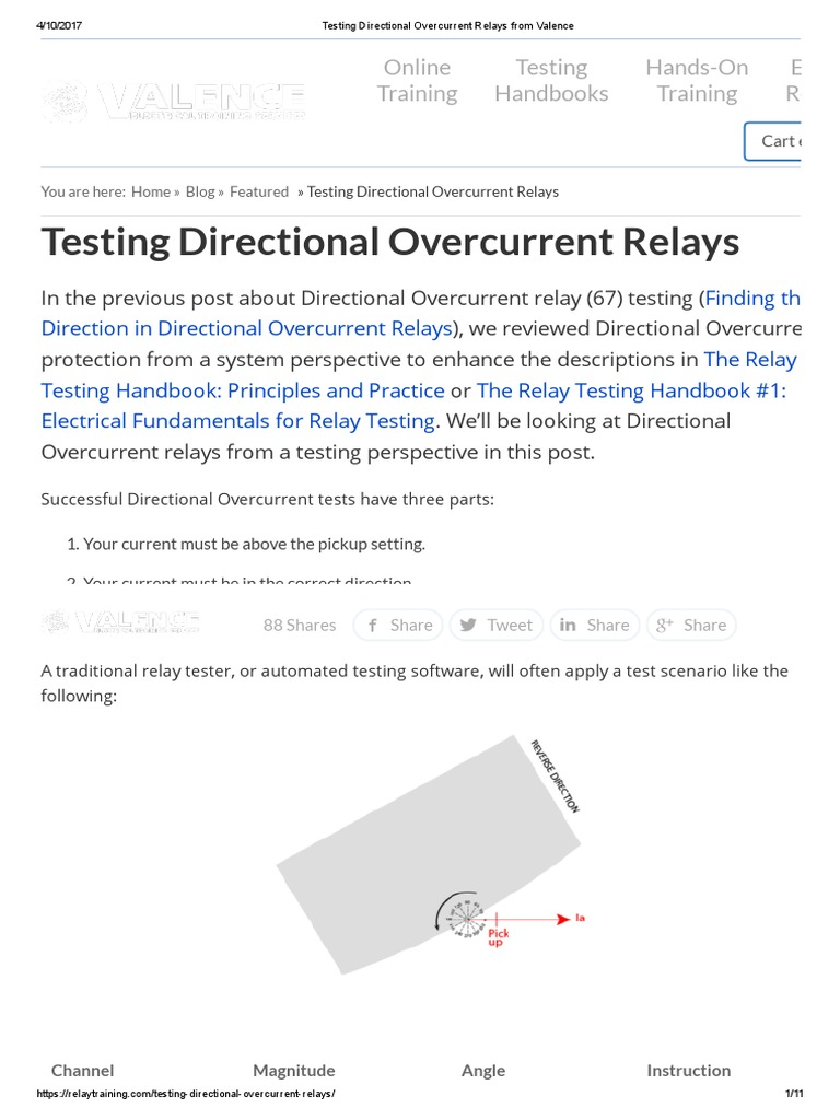 Testing Directional Overcurrent Relays From Valence | Relay