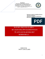Raport Privind Starea Invatamantului - SEM. I 2016-2017