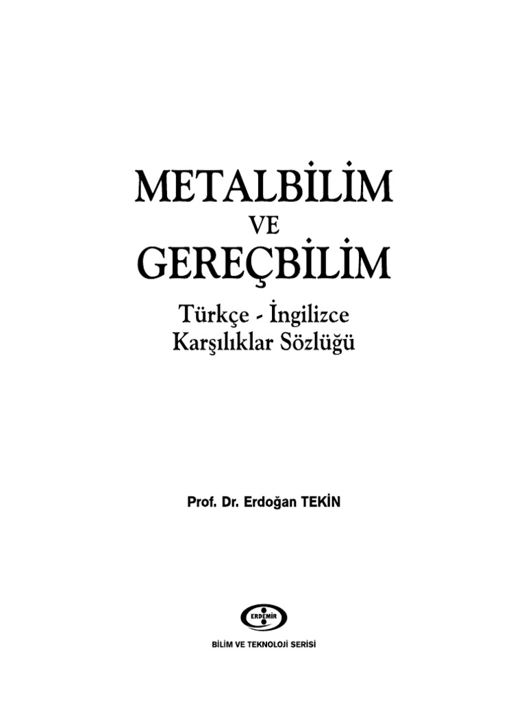Metalbilim Turkce Ingilizce 122 Pdf