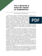 Giro a derecha y lucha de clases en Sudamérica por DANIEL MATOS y EDUARDO MOLINA. Revista Estrategia Internacional