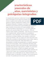 Características Generales de Sociópatas - Narcisistas