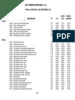 Lista de Precios a Partir de Sept 2011