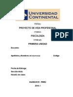 Proyecto de Vida Profesional - Psicología Ejemplo