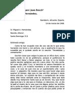 Carta escrita por Juan Bosch a Miguel Hernández