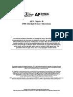 AP PHYSICS B 1988 MC + Answers