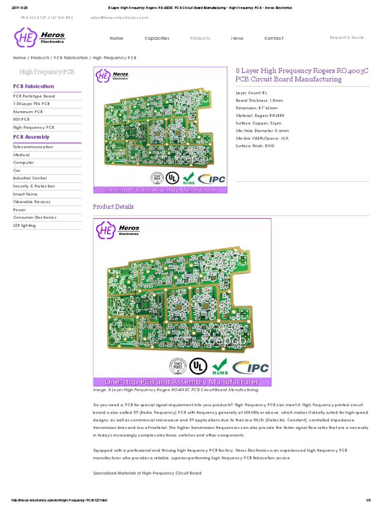 8 Layer High Frequency Rogers Ro4003c Pcb Circuit Board Manufacturing Heros Electronics Printed