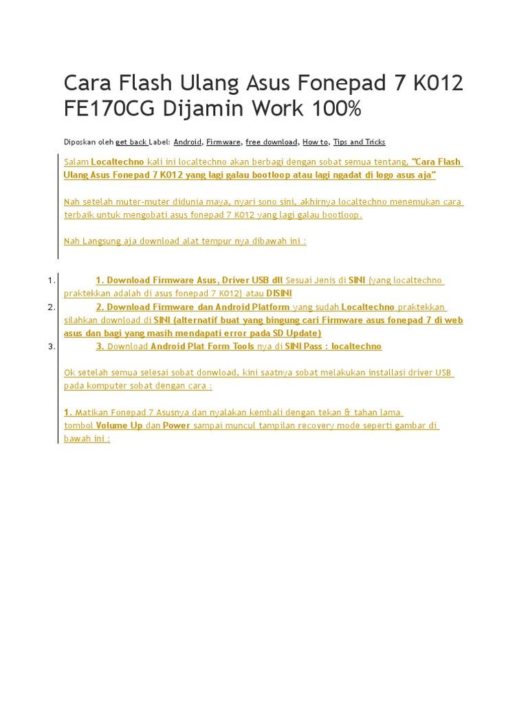 Cara Flash Ulang Asus Fonepad 7 K012 FE170CG Dijamin Work 100