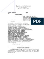 Affidavit Witness sample