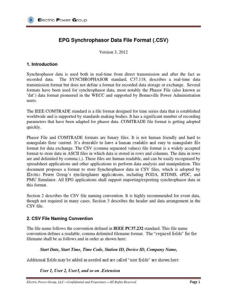 Epg Synchrophasor Data File Format Csv   Comma Separated Values   File  Format