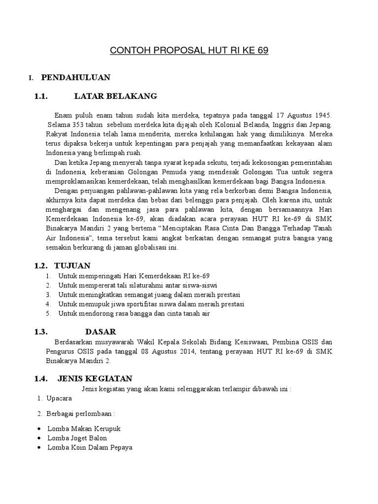 Contoh Cover Proposal Hut Ri 71 Fontoh