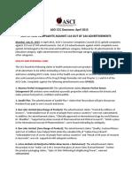 Asci Ccc Decisions April 2015 Press Release