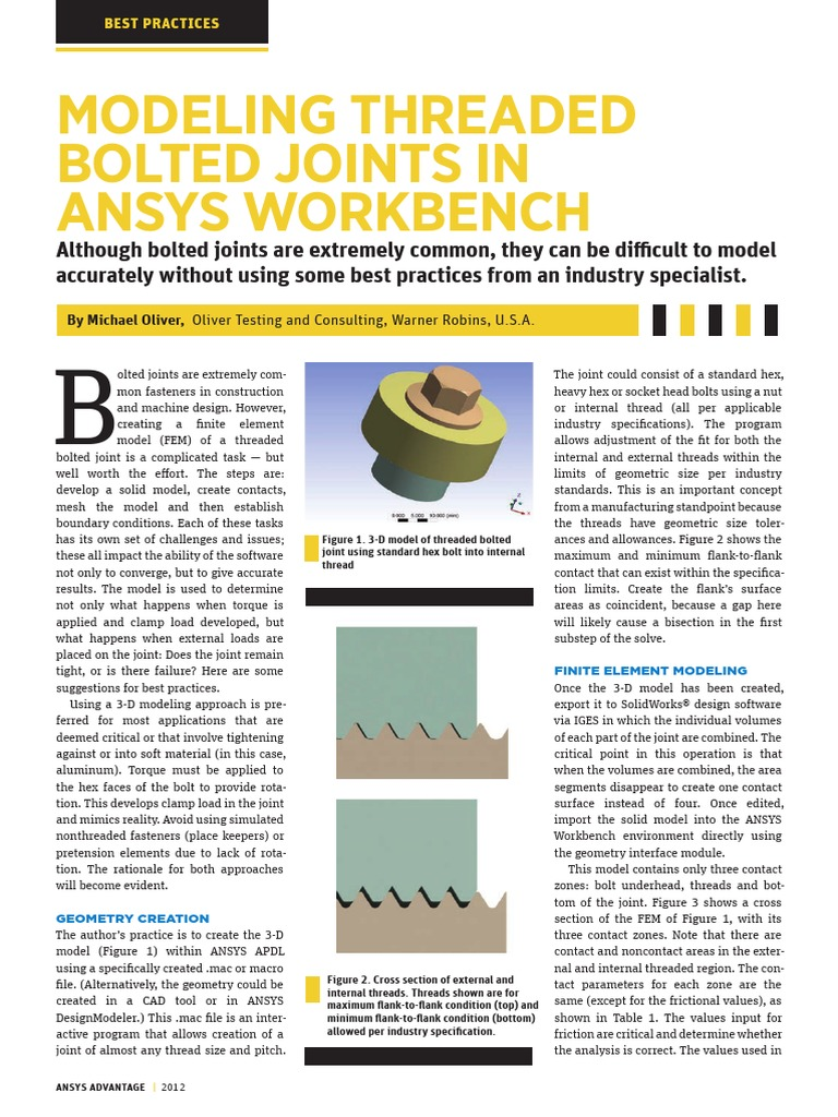 Modeling Threaded Bolted Joints in ANSYS Workbench | Screw | Applied