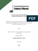 IMPORTANCIA  DE LOS MATERIALES DIDÁCTICO EN EL PROCESO DEL APRENDIZAJE PROCEDIMENTAL  DE LA FÍSICA EN LOS ESTUDIANTES DE 5to NIVEL SECUNDARIO  I.E V.M.R