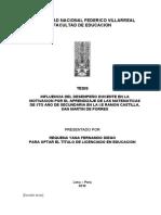 INFLUENCIA DEL DESEMPEÑO DOCENTE EN LA MOTIVACION POR EL APRENDIZAJE DE LAS MATEMATICAS DE 5TO AÑO DE SECUNDARIA EN LA I.E RAMON CASTILLA, SAN MARTIN DE PORRES