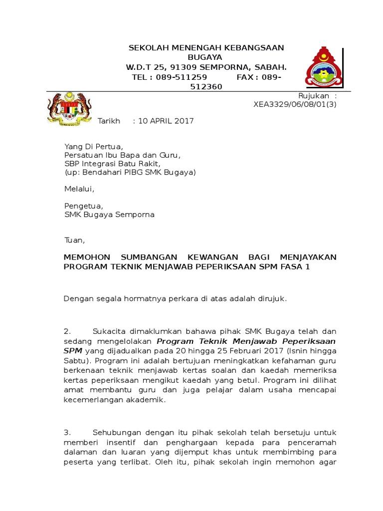 Surat Mohon Sumbangan Pages 1 2 Text Version Anyflip