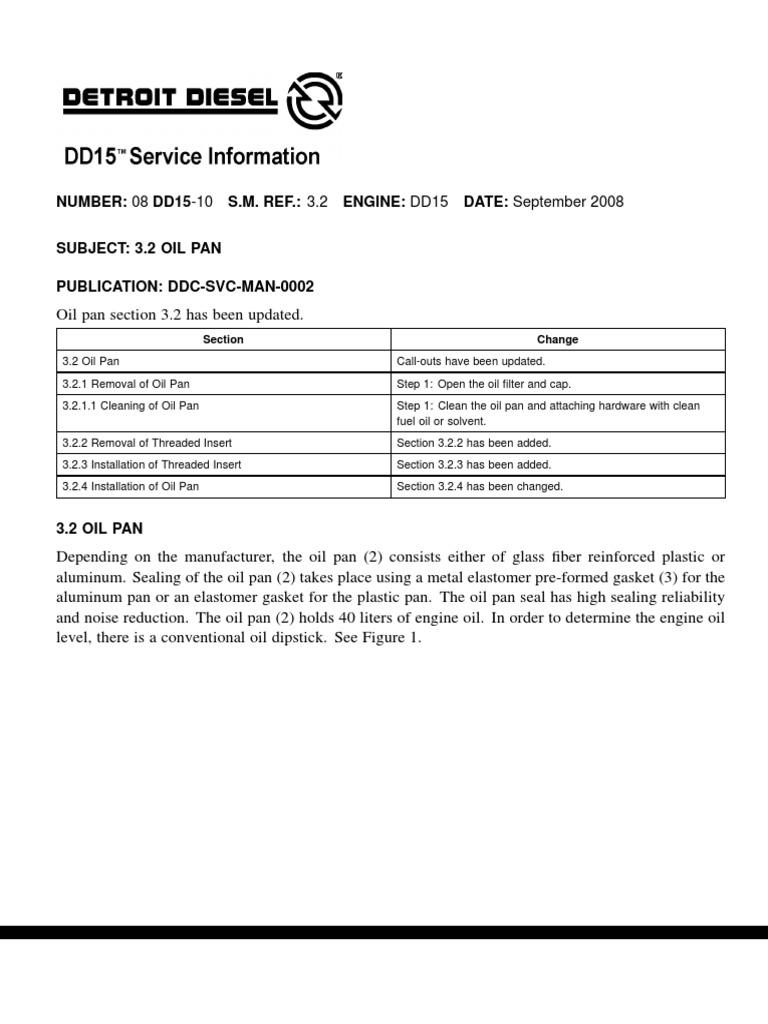 oil pan torque specs dd15