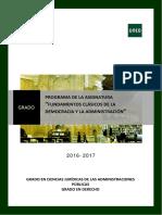 Programa Modificado Fundamentos Clásicos de La Democracia y La Administración 2016-2017