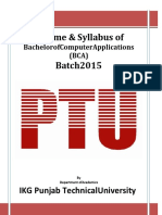 IKGPTU BCA Syllabus 2015 Batch