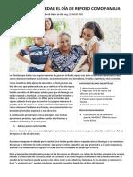 5 Formas de Guardar El Día de Reposo Como Familia