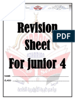 English Revision sheet for Junior 4
