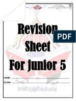English Revision sheet for Junior 5