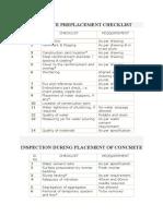 Concrete Preplacement Checklist