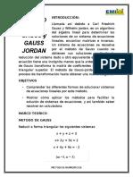 Metodo de Gauss y Gauss Jordan Informe