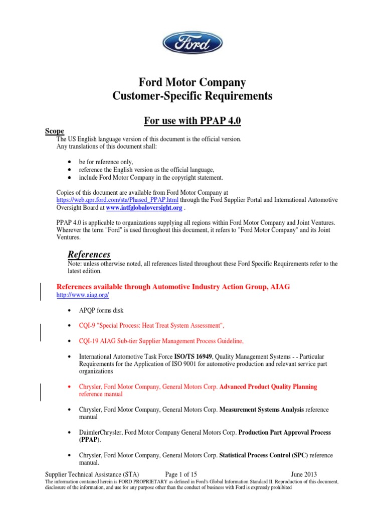 ford specifics for ppap engineering tolerance specification rh scribd com Supplier Relations Quality Checklist
