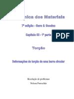 3.1 - Torção, Deformações de Torção Em Uma Barra Circular, Mecânica Dos Materiais, Gere, 7ª Edição, Exercícios Resolvidosa