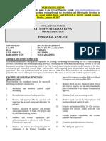 Financial Analyst Description 16
