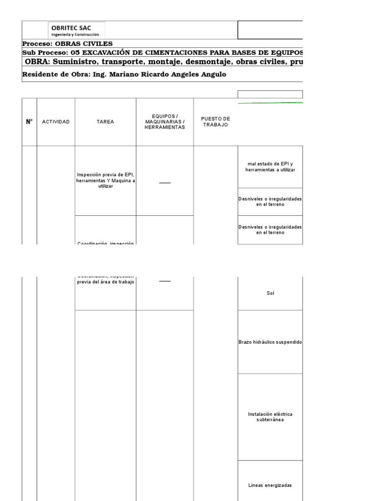 5 Iperc Excavacion de Cimentaciones Para Bases de Equipos de Patio ...