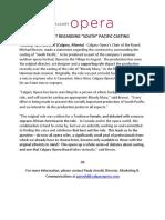 Calgary Opera Statement Regarding South Pacific