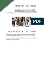 Definiciòn de Bullying