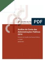 Análise da Conta das Administrações Públicas 2016, pelo Conselho das Finanças Públicas