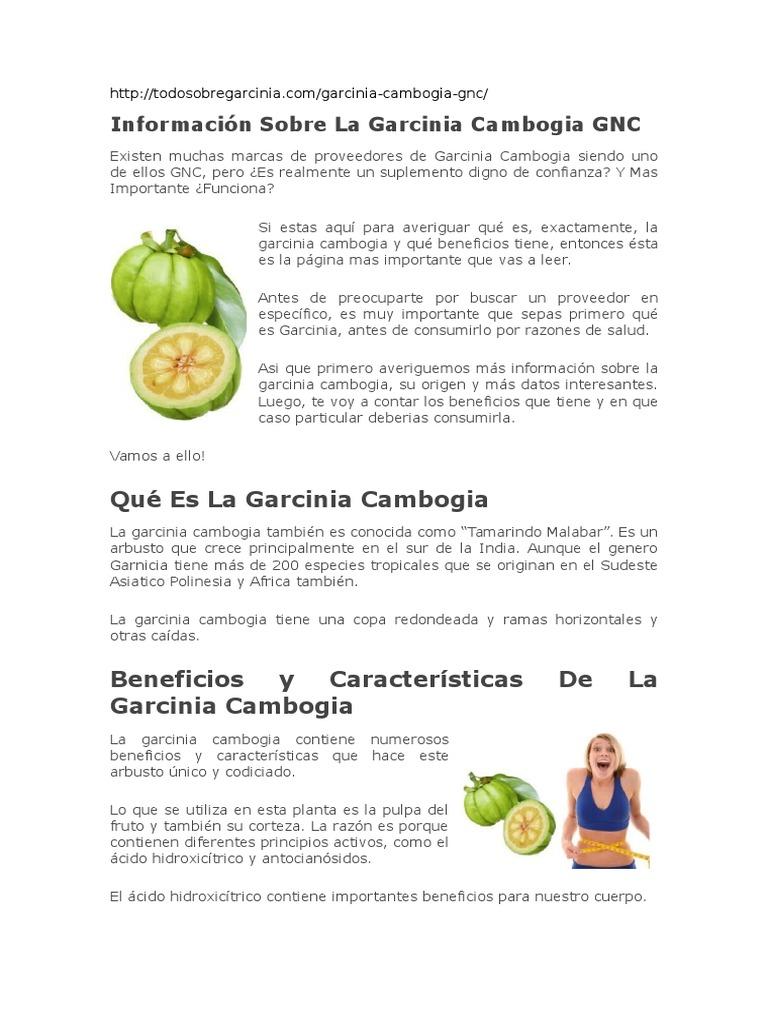 Efectos secundarios de la garcinia cambogia gnc