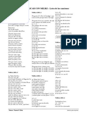 Tablas De Multiplicar Letra Canciones Miliki Pdf