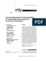 #01b THE VALUE RELEVANCE OF ANNOUNCEMENTS OF TRANSFORMATIONAL INFORMATION TECHNOLOGY INVESTMENTS.  By Dehning, Bruce.pdf