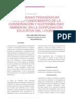 Estrategia Pedagógica Para El Conocimiento de La Copnservación y Sostenibilidad Ambiental