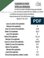 Calendario Alfabético Matrículas Oct-Feb 2017