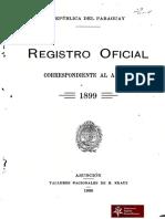 República del Paraguay.Registro Oficial correspondiente al año de 1899.