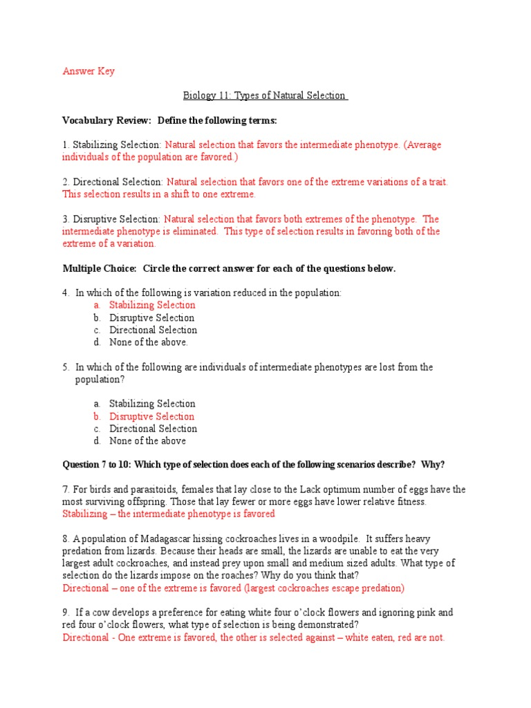 Types Of Natural Selection Worksheet Geotwitter Kids Activities
