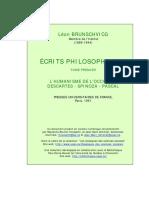 L. Brunschvicg, Ecrits Phi, I, Descartes, Spinoza, Pascal