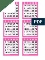 4 COM 24 Cartones Bingo 75 Bolas