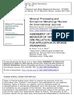 ASSESSMENT OF REDUCTION BEHAVIOR OF HEMATITE IRON ORE PELLETS IN COAL FINES FOR APPLICATION IN SPONGE IRONMAKING