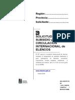Solicitud de Subsidio Para Circulación Internacional de Elencos
