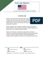 Comunicado de la embajada de los EE.UU. en Madrid