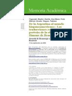 De la Argentina al mundo hispanoamericano. Las traducciones con acento porteño de la obra de Simone de Beauvoir