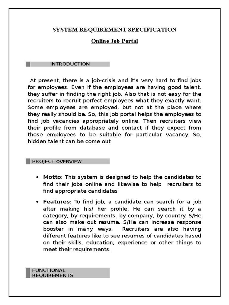 Online job portal Srs | Recruitment | Résumé