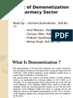 Effect of Demonetization on Pharmacy Sector